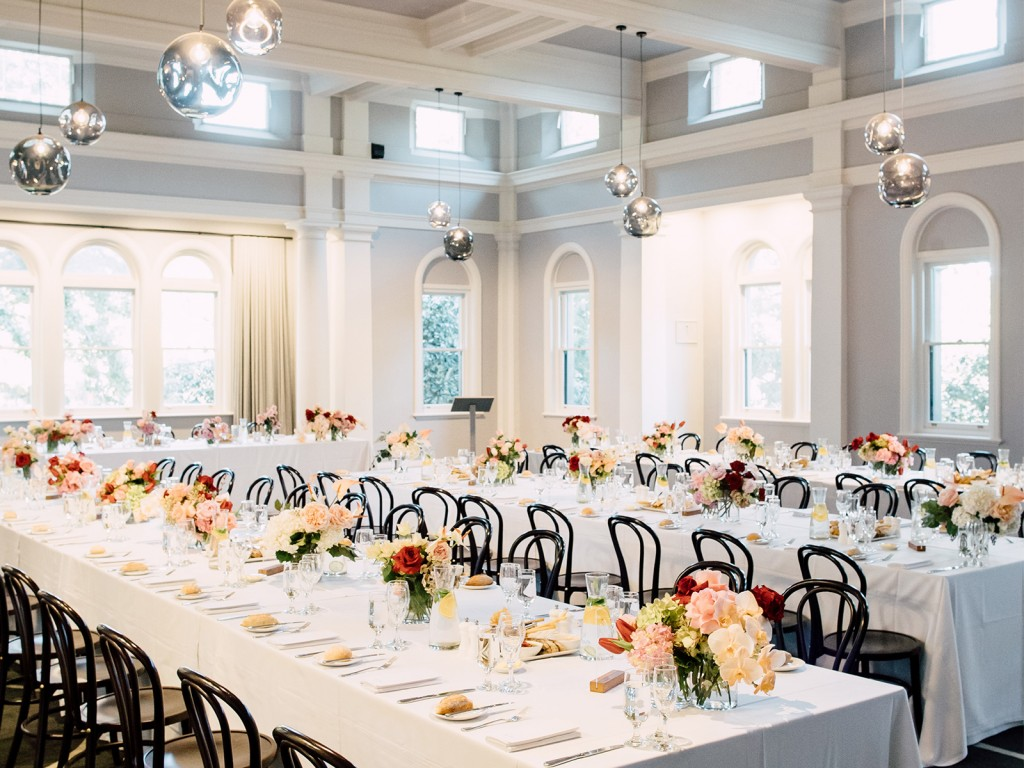 luxury classic wedding werribee park the refectory white tables black chair floral chic